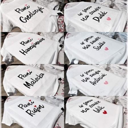 koszulka DWUSTRONNA Twoje Nazwisko Pani...  w sercu na zawsze...