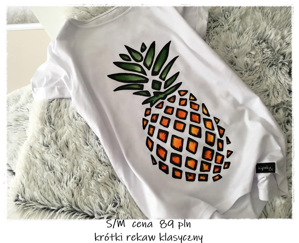 Ananas Rysunek rysunek ananas s/m krótki rękaw klasyczny - koszulki ręcznie malowane -  kipeke.pl