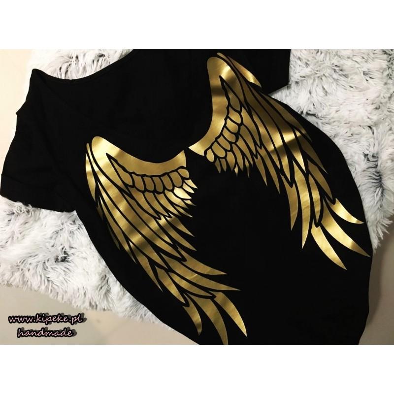 skrzydła zloto czarna s/m serek dekolt na plecach nadruk : tył koszulki, przód gładki
