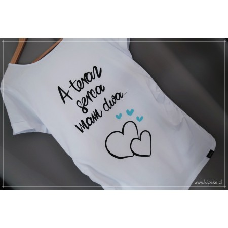 A teraz serca mam dwa + SERCA NIEBIESKIE ... motyw dla kobiet w ciąży