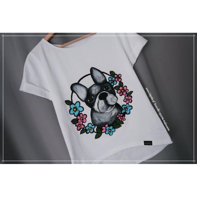 BULDOG koszulka ręcznie malowana 1 sztuka s/m krótki rękaw klasyczny