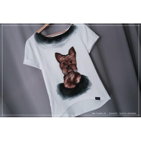 S/M PIES rysunek YORK koszulka ręcznie malowana