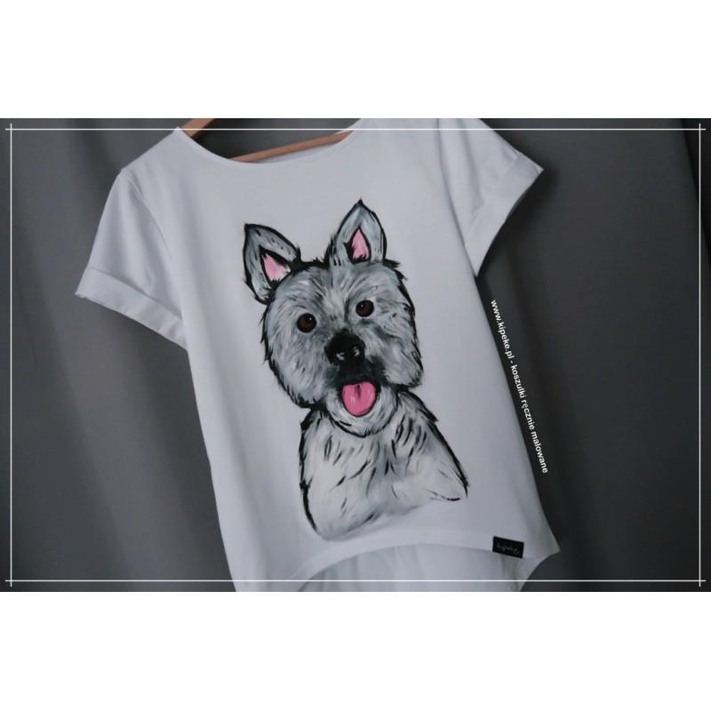 S/M Piesek 1 sztuka koszulka ręcznie malowana