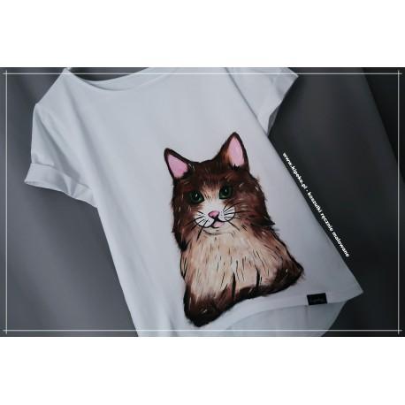 S/M KOTEK rysunek 1 sztuka koszulka brąz