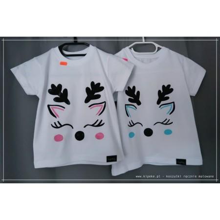 renifer dziecięca koszulka świąteczna  kolor róż / niebieski