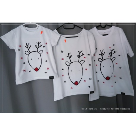 ZESTAW RODZINNY renifer 3 koszulki : mama dziecko tata