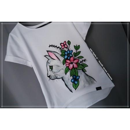 S/M KOTEK rysunek 1 sztuka koszulka ręcznie malowana