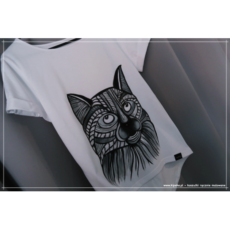 S/M krótki - koszulka z kotkiem, szarość biel czerń , rysunek kota