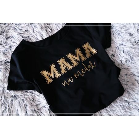 MAMA  NA MEDAL - S/M - czarno złota  - 1 SZTUKA
