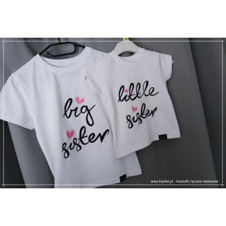 ZESTAW koszulek dla sióstr dzieci : big sister , little siste