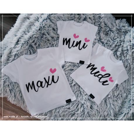 Zestaw 3 koszulek: MINI MIDI MAXI dziecięce dla rodzeństwa koszulki