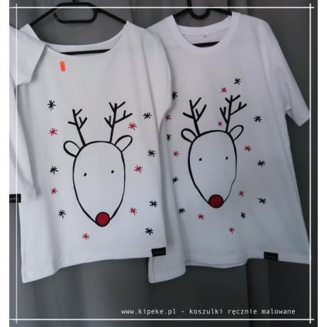 ZESTAW koszulki PERSONALIZOWANE + renifer świąteczne