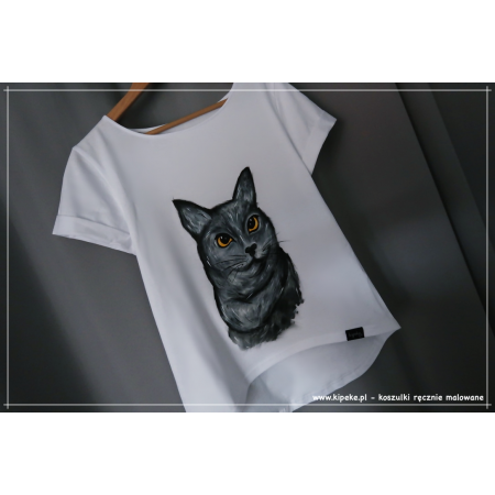 S/M KOT szary koszulka ręcznie malowana