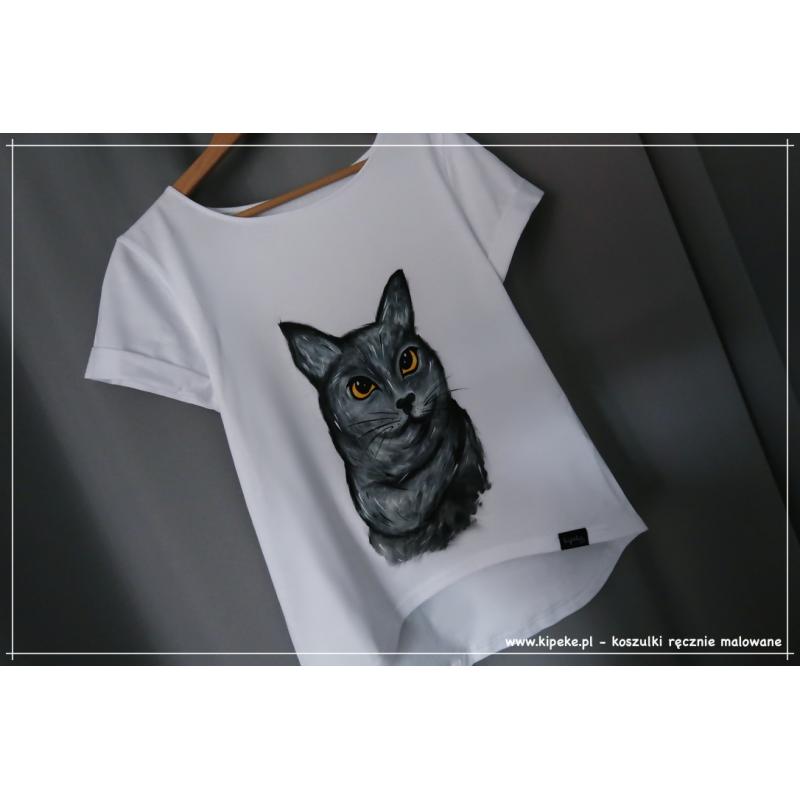 S/M KOT brytyjski szary koszulka ręcznie malowana