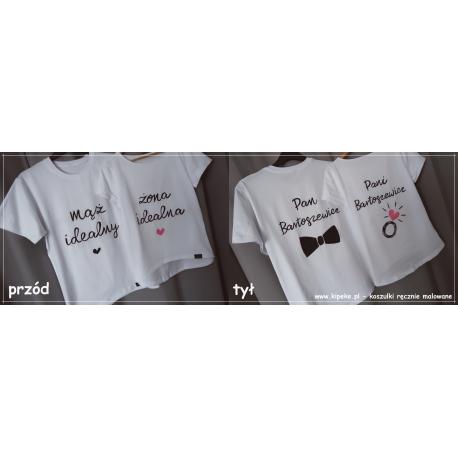 ZESTAW koszulki DWUSTRONNE mąż żona nazwisko