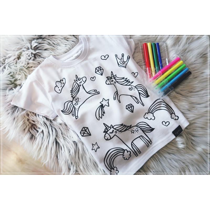 Koszulka do kolorowania   jednorożce + MAZAKI GRATIS