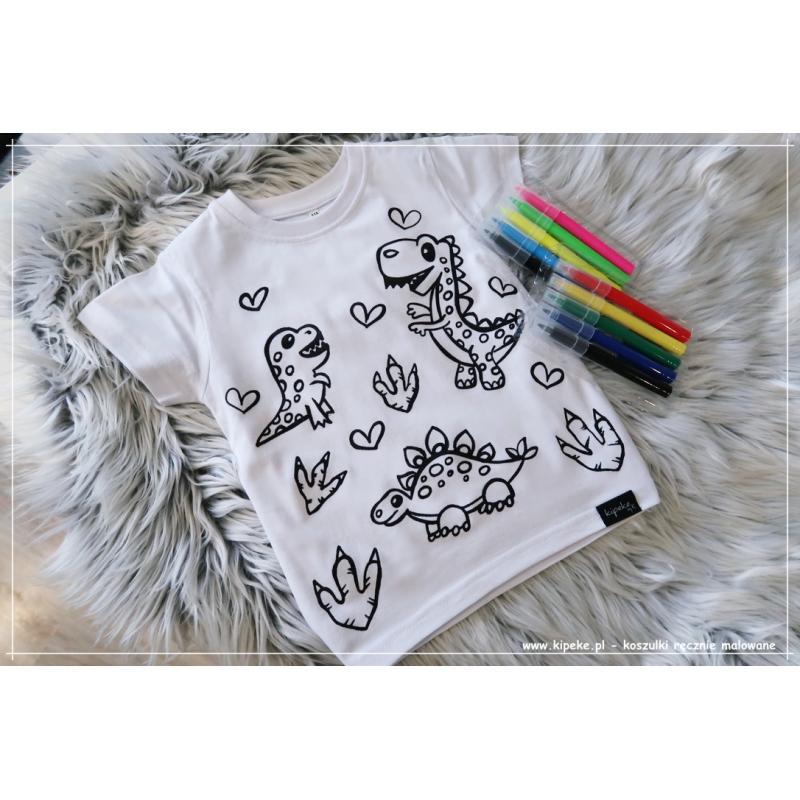 Koszulka do kolorowania   dinozaury + MAZAKI GRATIS