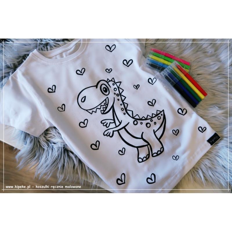 Koszulka do kolorowania  DINOZAUR serca + MAZAKI GRATIS