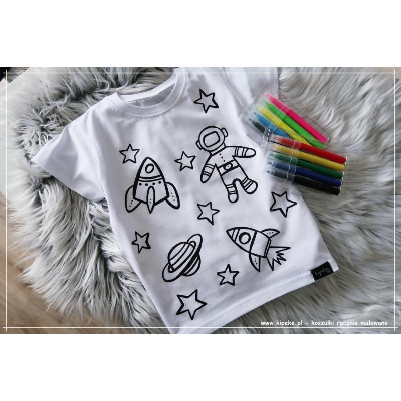 Koszulka do kolorowania  KOSMOS + MAZAKI GRATIS
