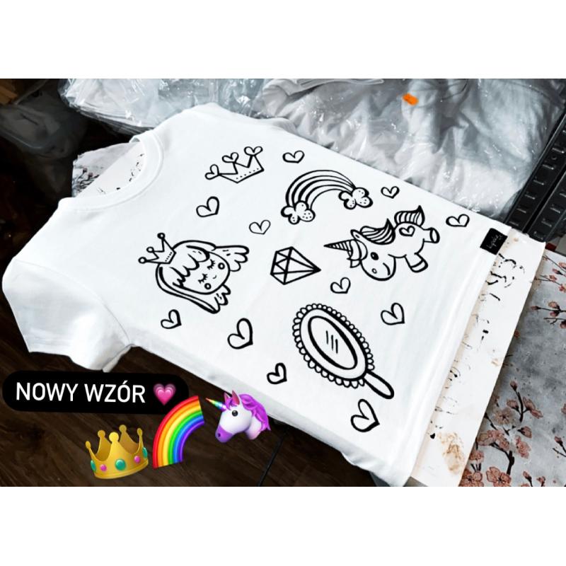 Koszulka do kolorowania | jednorożce księżniczka + MAZAKI GRATIS