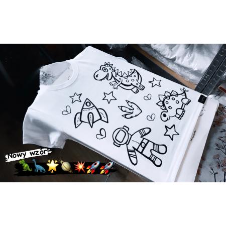 Koszulka do kolorowania | DINO i KOSMOS  + MAZAKI GRATIS