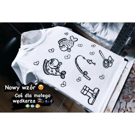 Koszulka do kolorowania   wędkowanie rybki + MAZAKI GRATIS