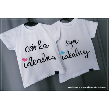 ZESTAW koszulek córka idealna syn idealny