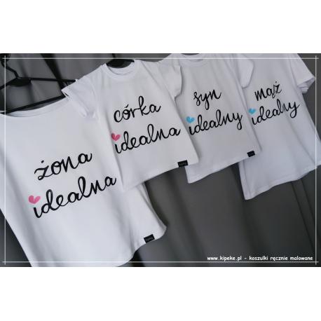 ZESTAW 4 koszulek SERCA | żona mąż córka idealna RODZINNE