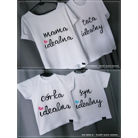 ZESTAW 4 koszulek mama tata córka syn idealni RODZINNE