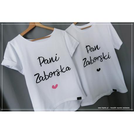 ZESTAW  ( twoje ) nazwisko + serca PERSONALIZOWANE ślubne koszulki KURSYWA