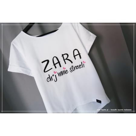ZARA ch*j mnie strzeli + serduszka koszulka damska