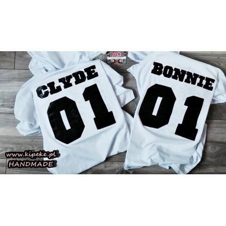 ZESTAW DLA PARY : Bonnie i Clyde napis tył koszulki