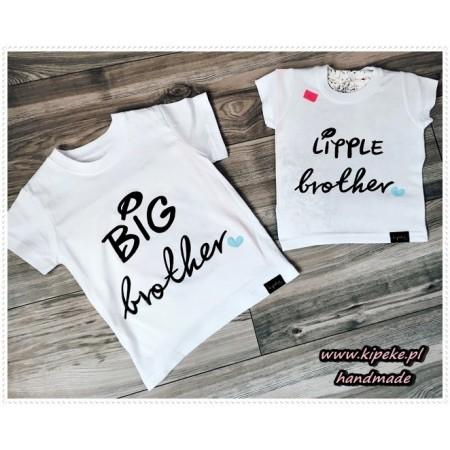 ZESTAW koszulek dla braci  dzieci : big brother , little brother niebieskie serca